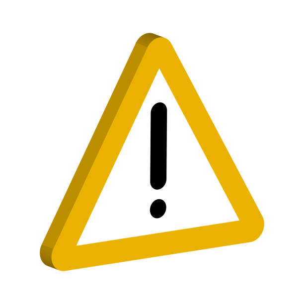 3d sign of the notifications, yellow triangle and an exclamation point vector symbol important notices - rich stock illustrations