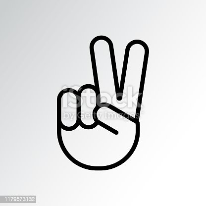 istock Sign of victory or peace. Hand gesture of human, black line icon. Two fingers raised up. Vector 1179573132