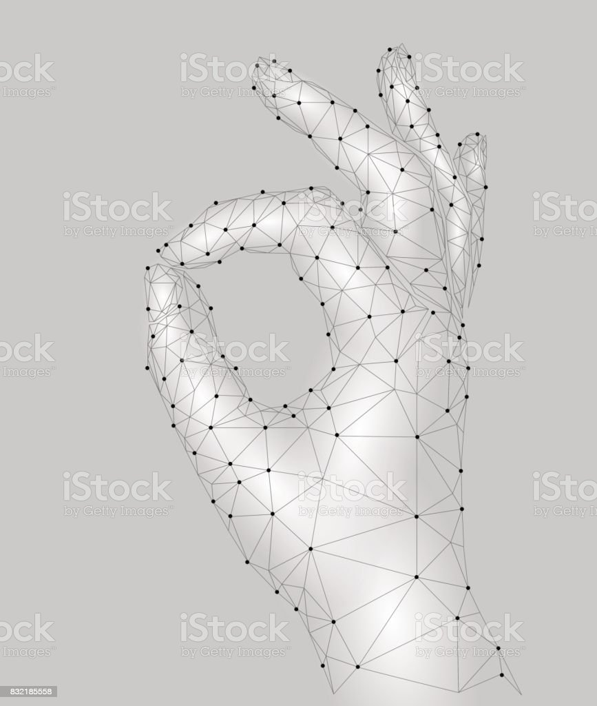 Sign Ok Finger Signal Agreement 3d Low Poly Model Of Human Hand