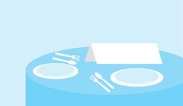 stockillustraties, clipart, cartoons en iconen met sign on a restaurant table. - gedekte tafel
