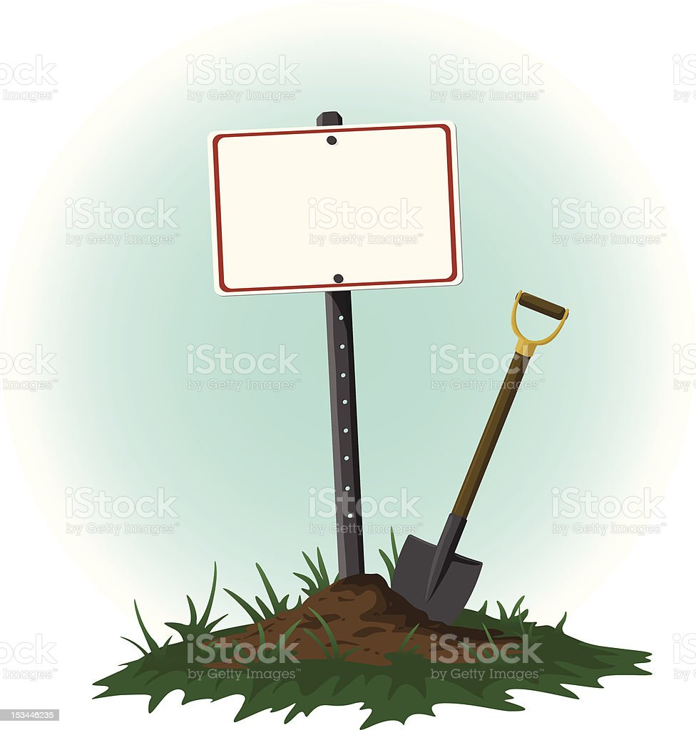 Sign on Post with a Shovel Resting Beside vector art illustration