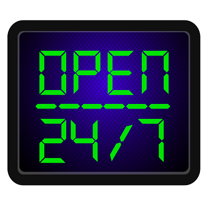 24 시간 주 7 일 오픈 로그인 일주일에 하루 0명에 대한 스톡 벡터 아트 및 기타 이미지