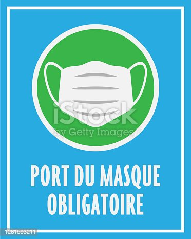 istock sign or sticker with text PORT DU MASQUE OBLIGATOIRE, French for wearing a face mask is mandatory 1261593211
