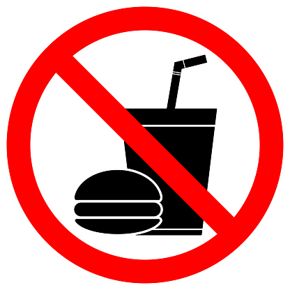 NO EATING OR DRINKING sign. Paper cup with tubule and hamburger icons in crossed out red circle. Vector