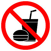 NO EATING OR DRINKING sign. Paper cup with tubule and hamburger icons in crossed out red circle. Vector.