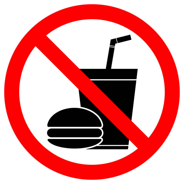ilustrações de stock, clip art, desenhos animados e ícones de no eating or drinking sign. paper cup with tubule and hamburger icons in crossed out red circle. vector - eating