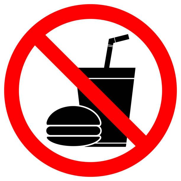 kein essen oder trinken zeichen. pappbecher mit röhrchen und hamburger ikonen in durchgestrichen, roter kreis. vektor - essen mund benutzen stock-grafiken, -clipart, -cartoons und -symbole