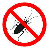 NO COCKROACHES sign. Pest contour symbol. Vector icon.