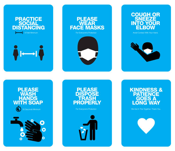 COVID Sign Poster Templates COVID related communications designed for standard letter-sized printing. Handwashing with 20 Second Recommendation. Also sneezing and coughing into your elbow instructions, and no littering included. protective face mask stock illustrations