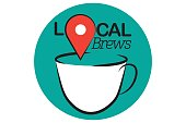"A map pin icon hovers above an illustrated coffee cup. The sign reads 'Local Brews"" with the 'O' replaced by a map pin icon. The sign promotes community coffee shops."