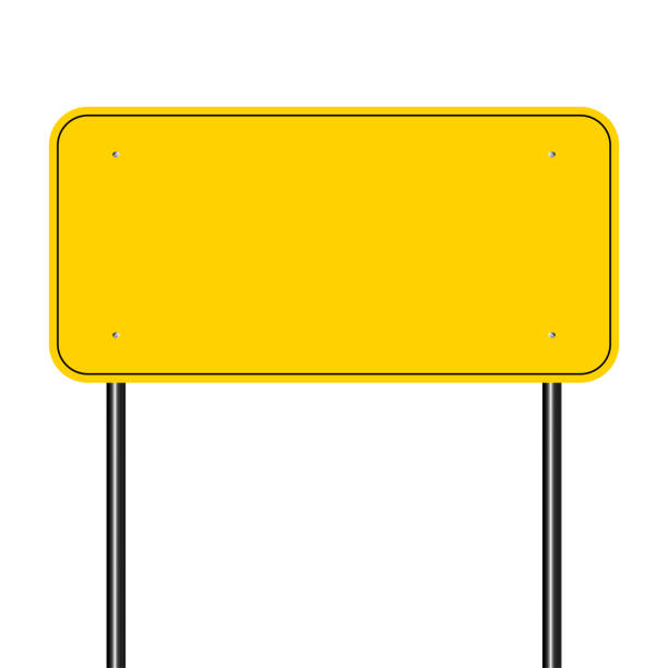 illustrations, cliparts, dessins animés et icônes de signer la route jaune, signe jaune sur blanc background.vector illustration - panneaux de signalisation routière