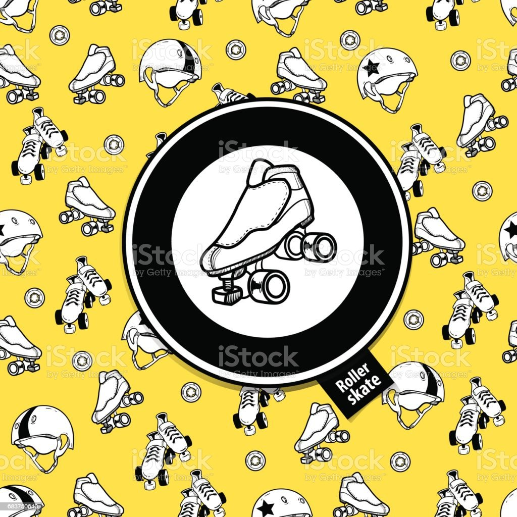 Sign roller derby and seamless pattern on the theme of roller de vector art illustration