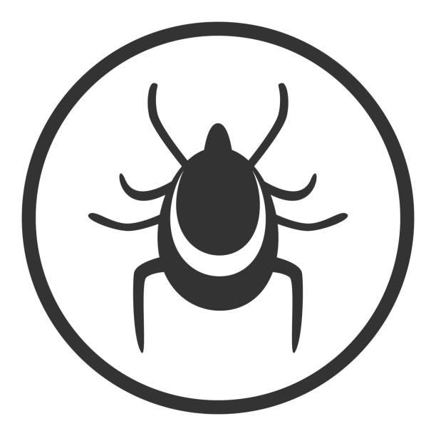 illustrations, cliparts, dessins animés et icônes de signe de danger tiques. rond. vector - acarien