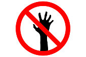 NO ZOMBIES ALLOWED sign. Silhouette of corpse hand in red circle, isolated. Vector