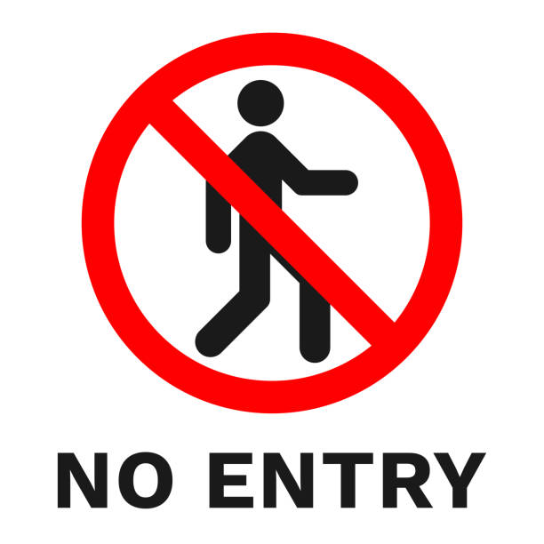 NO ENTRY sign. Sticker with inscription. Vector NO ENTRY sign. Sticker with inscription. Vector. exclusion stock illustrations
