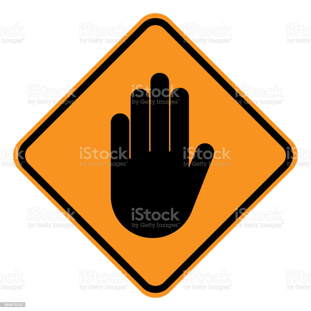 WARNING sign. STOP HAND gesture in yellow square. Vector icon vector art illustration
