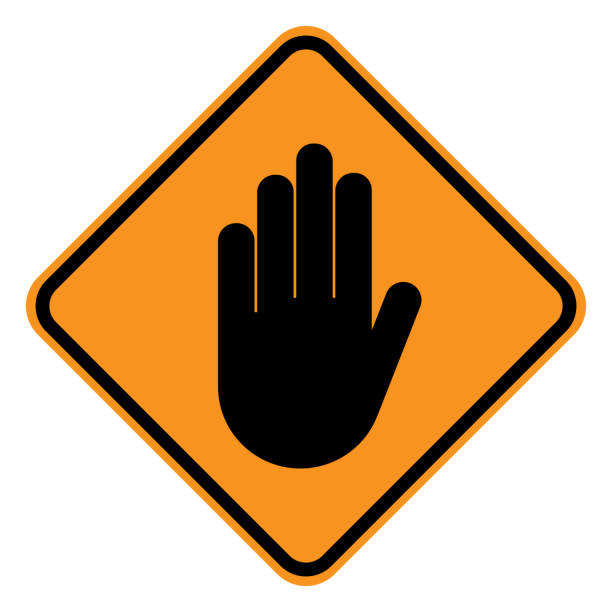 WARNING sign. STOP HAND gesture in yellow square. Vector icon WARNING sign. STOP HAND gesture in yellow square. Vector icon. road warning sign stock illustrations