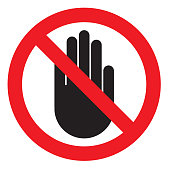 istock NO ENTRY sign. Stop palm hand icon in crossed out red circle 1214520844