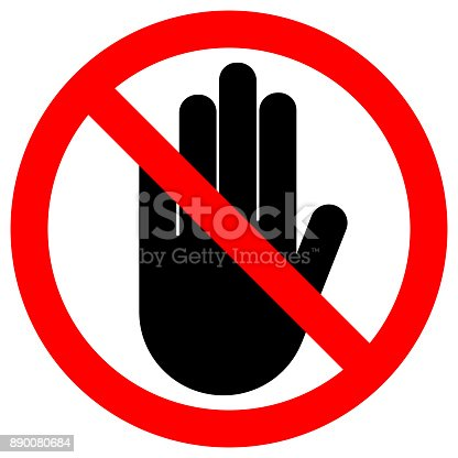 NO ENTRY sign. Stop palm hand icon in crossed out red circle. Vector.