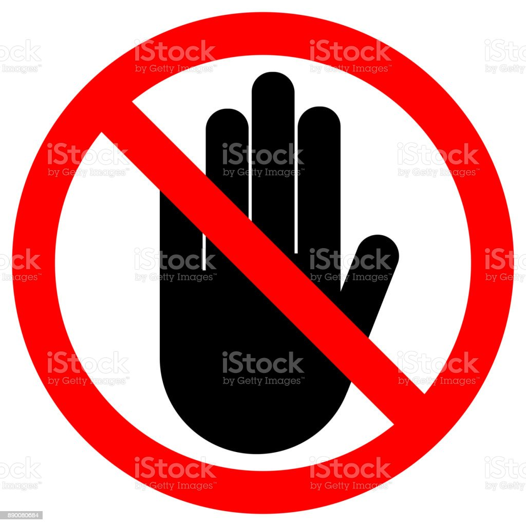 NO ENTRY sign. Stop palm hand icon in crossed out red circle. Vector vector art illustration