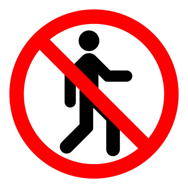 NO ENTRY sign. Strikethrough human silhouette on red circle. Vector icon NO ENTRY sign. Strikethrough human silhouette on red circle. Vector icon. exclusion stock illustrations