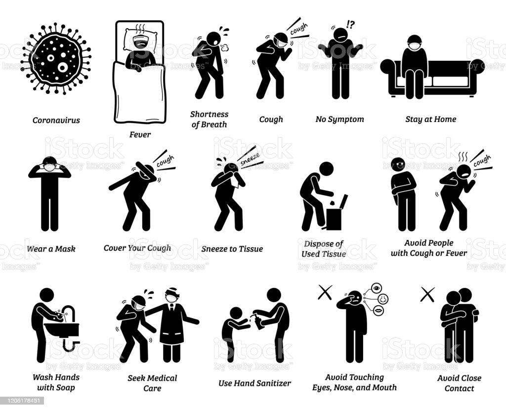 Vector artwork of people infected with coronavirus, influenza, or...
