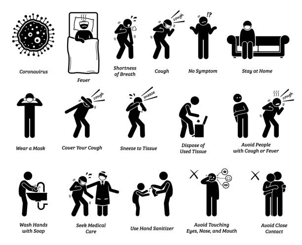 ilustrações de stock, clip art, desenhos animados e ícones de sign symptoms of coronavirus virus and epidemic prevention tips. - boca suja