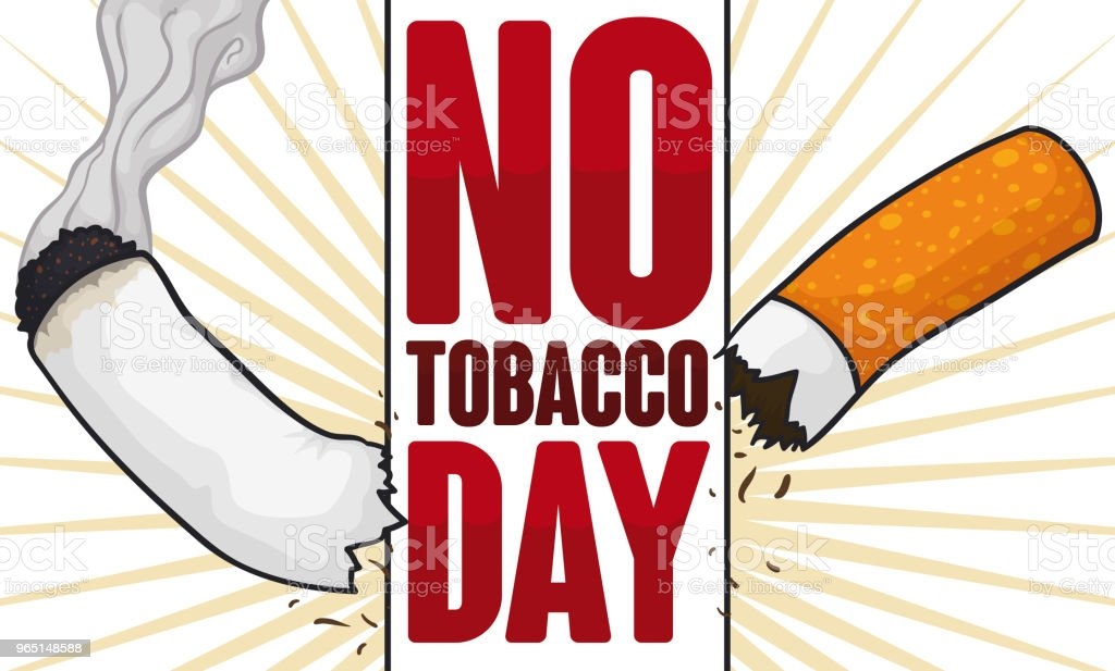 Sign Tearing a Cigarette for No Tobacco Day royalty-free sign tearing a cigarette for no tobacco day stock vector art & more images of addict