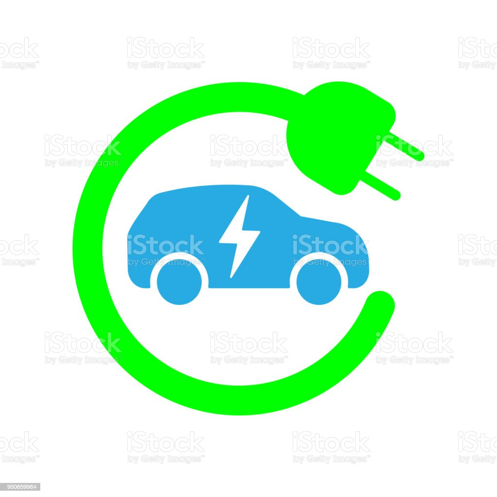 Sign template of car charging station. Vector illustration. Flat design vector art illustration