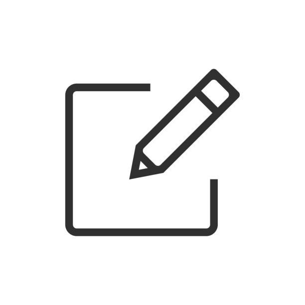 ikona rejestracji izolowana na białym tle. ilustracja wektorowa. - pióro przyrząd do pisania stock illustrations