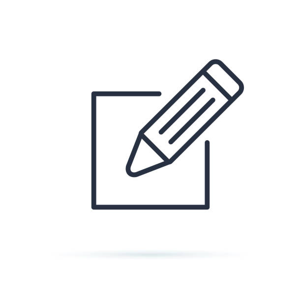 Melden Sie sich Icon Vektor an. Icon-Vektor bearbeiten. Bleistift-Ikone. Bearbeiten Sie das Dokumentenschild. Zeilensymbol für Website, Infografik und Banner. – Vektorgrafik