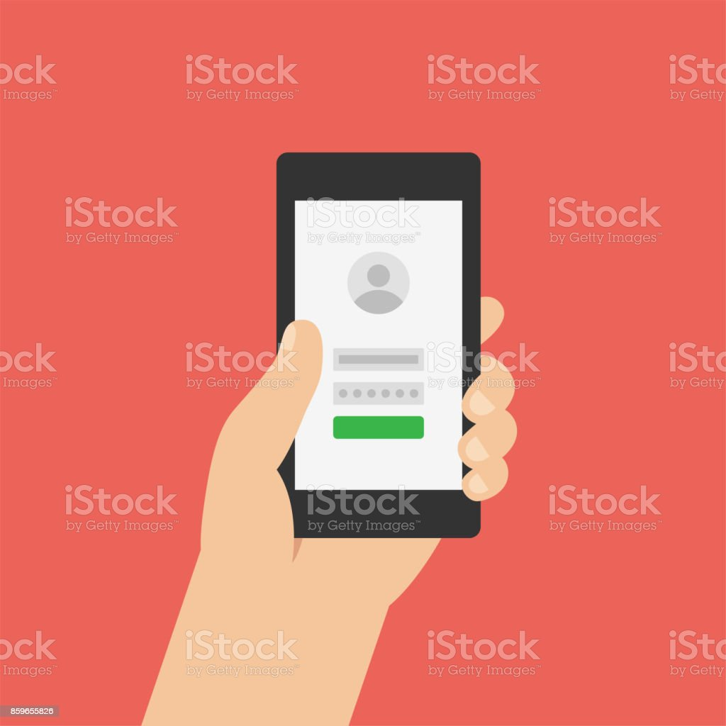 Sign up, log in page on smartphone screen. Hand holds the smartphone. Modern Flat design illustration. vector art illustration