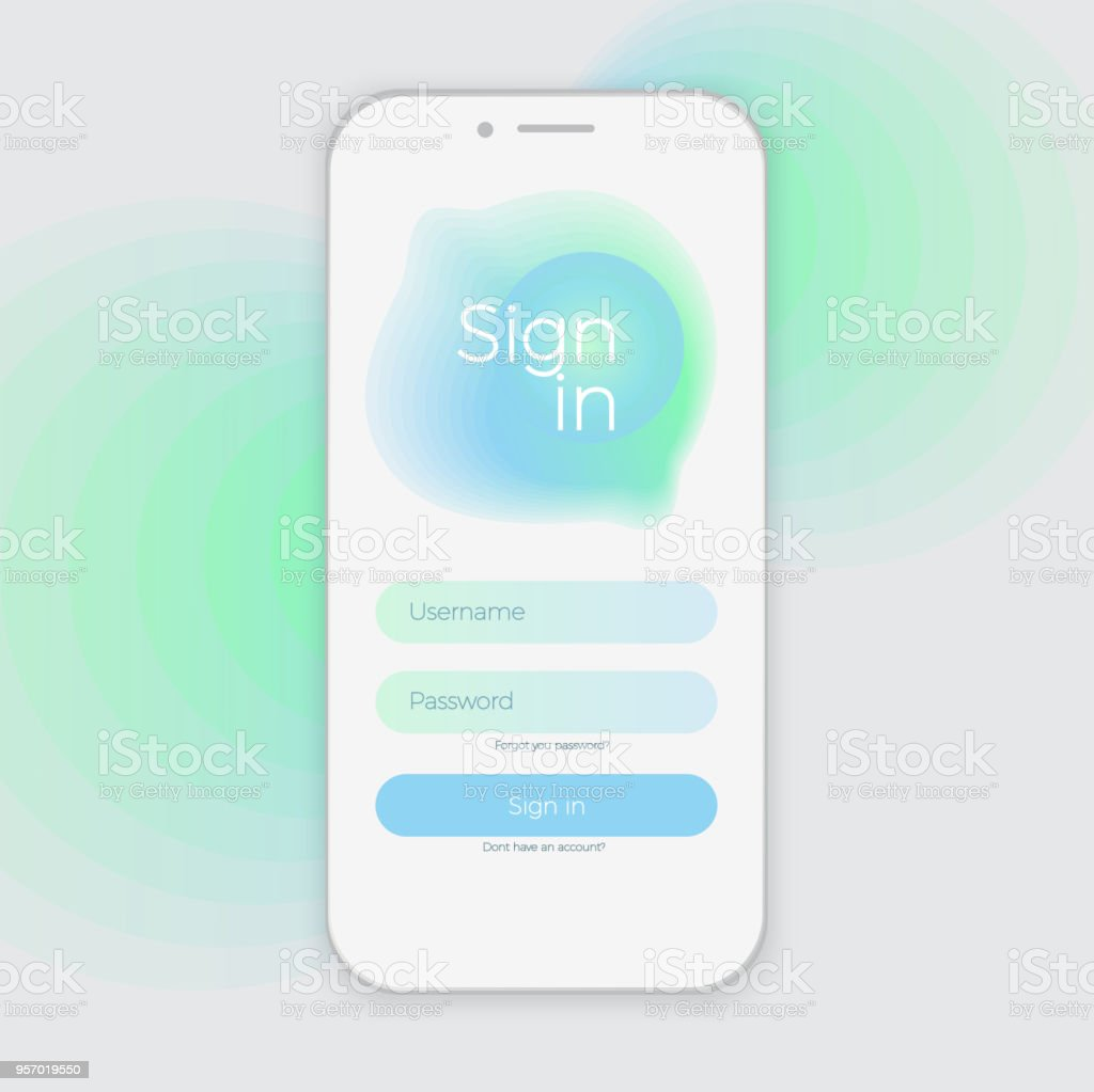 sign up screen clean mobile ui design concept application with registration form window trendy vector illustration vector art illustration