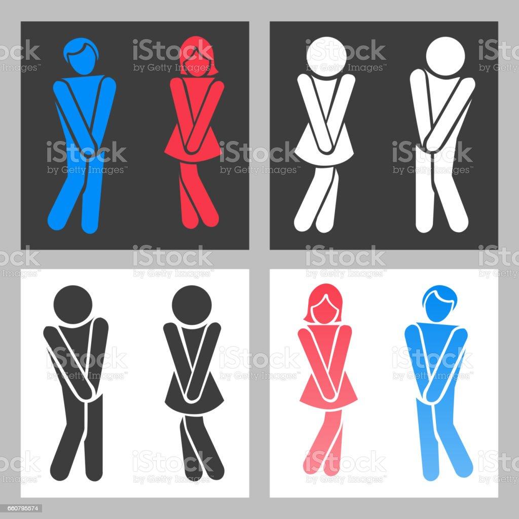 Sinal de WC. Vector engraçado menino e menina WC ícones ou símbolos de banheiro masculino feminino - ilustração de arte em vetor