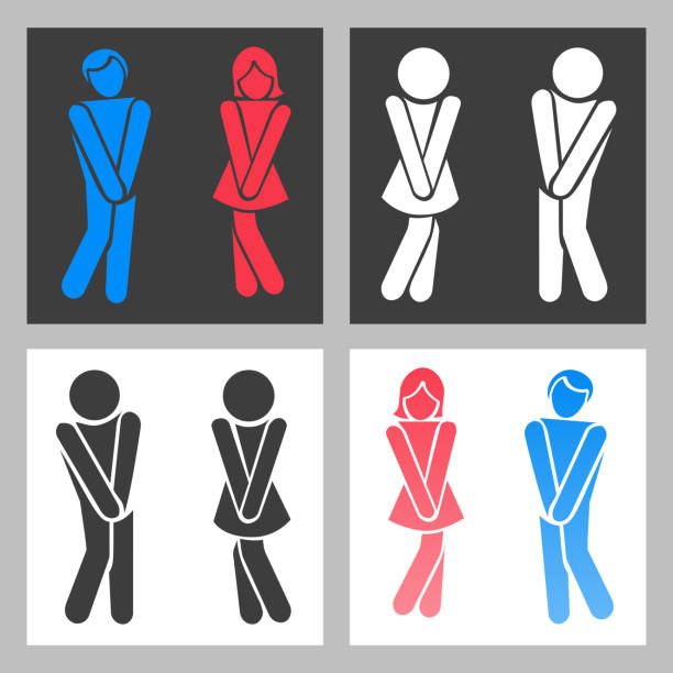 WC sign. Vector funny boy and girl toilet icons or female male bathroom symbols vector art illustration