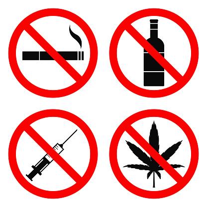 NO SMOKING, NO ALCOHOL, NO DRUGS, NO HEMP sign. Vector illustration.