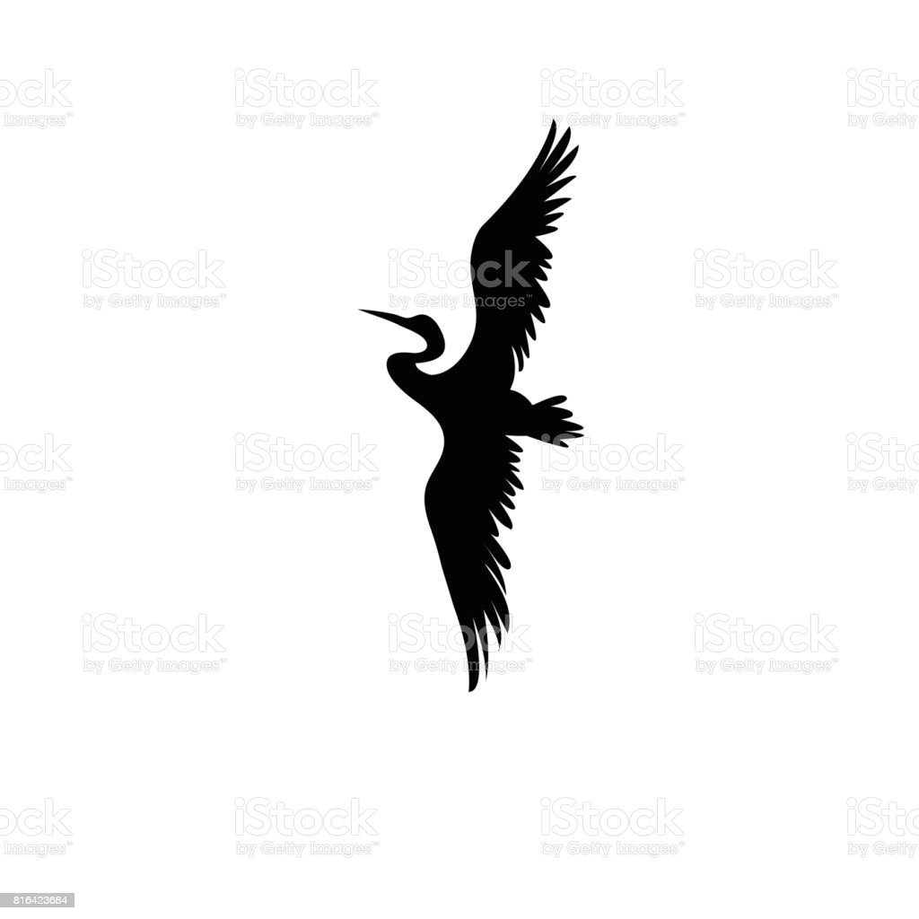 Sign vector silhouette of the heron vector art illustration
