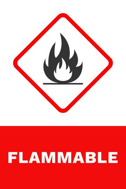 ilustrações de stock, clip art, desenhos animados e ícones de flammable sign. vector - inflamável