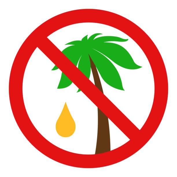 ilustrações de stock, clip art, desenhos animados e ícones de no palm oil sign. vector - oleo palma