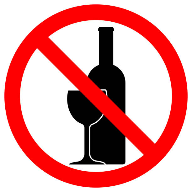 ALCOHOL FREE ZONE sign. Wine bottle and glass icons in crossed out red circle. Vector vector art illustration