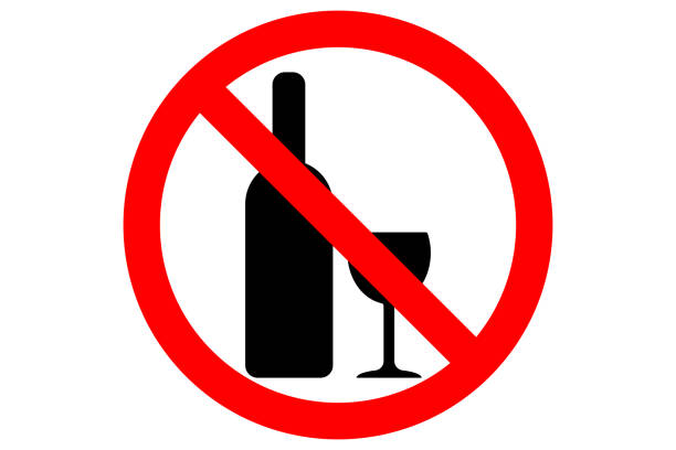 ALCOHOL FREE ZONE sign. Wine bottle and glass silhouettes in red circle. Vector vector art illustration