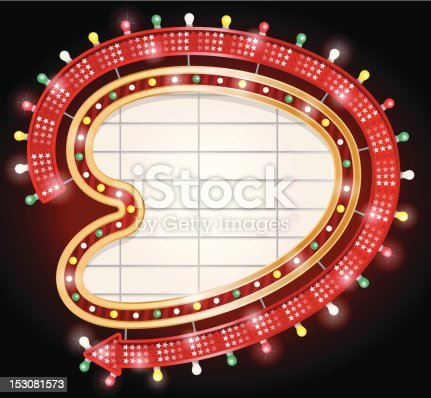 EPS 10 File. Transparencies are used in this Vector illustration of Retro Googie style kidney shaped sign with arrow. Hi-res Jpeg, PNG and PDF files included.
