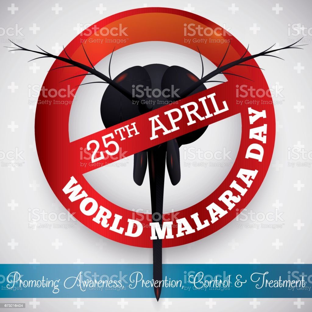 Sign with design of non Allowed Mosquito in Malaria Day векторная иллюстрация