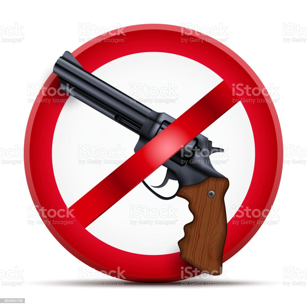 Sign with gun and symbol Stop arming vector art illustration