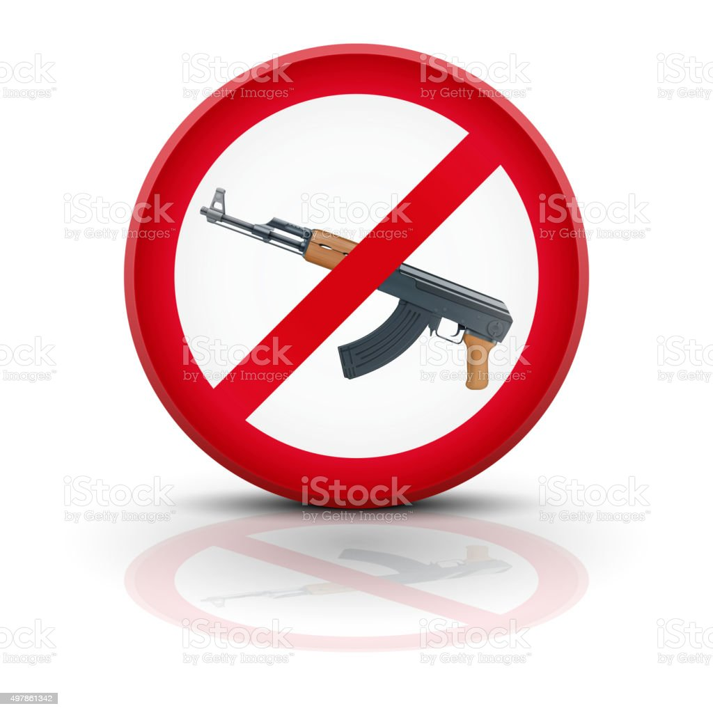 Sign With Gun And Symbol Stop Terrorism Stock Vector Art More