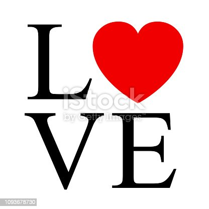 LOVE sign with heart - stoke vector
