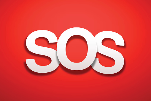 SOS Sign with Red Background - Paper Font
