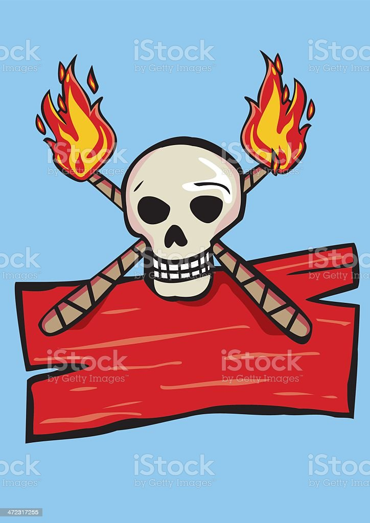 Sign with skull and flaming torches. royalty-free stock vector art