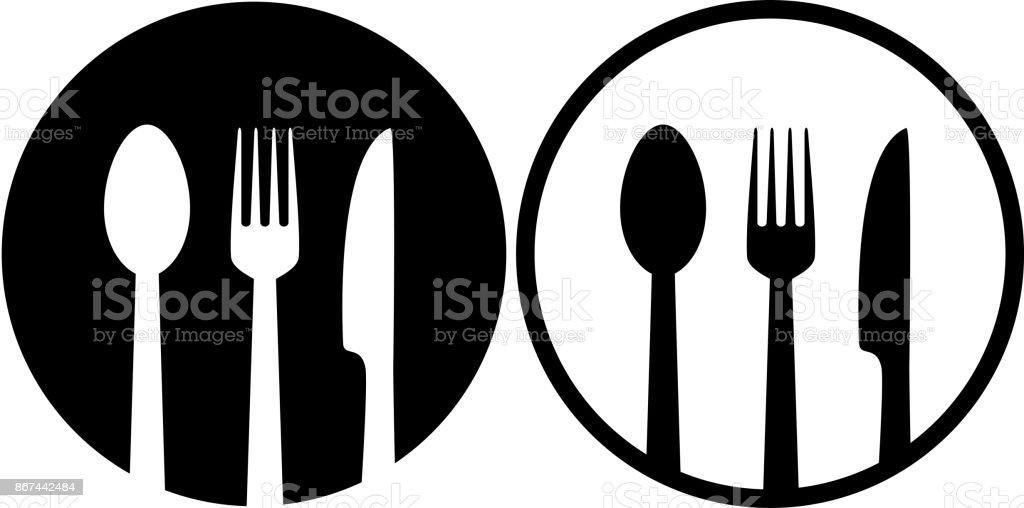 firmar con cuchara, tenedor y cuchillo - ilustración de arte vectorial