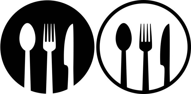 sign with spoon, fork and knife - restaurant logos stock illustrations, clip art, cartoons, & icons